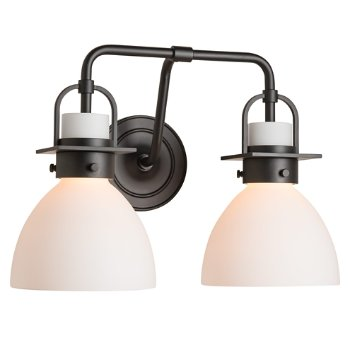 Shown in Matte Black finish, Opal Glass color with 2 Light Option