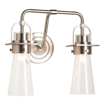 Shown in Brushed Nickel finish, Clear Glass color with 2 Light Option