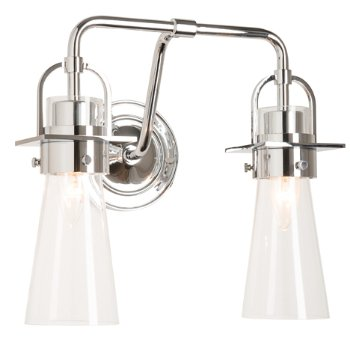 Shown in Polished Chrome finish, Clear Glass color with 2 Light Option