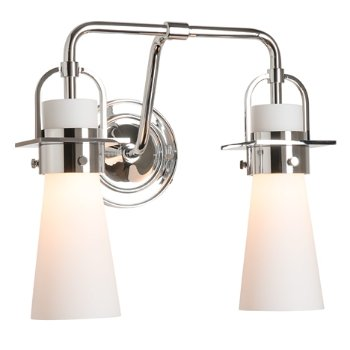 Shown in Polished Chrome finish, Opal Glass color with 2 Light Option