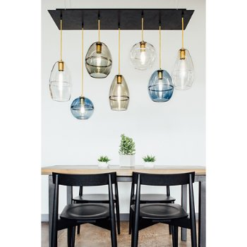 Halo Globe Pendant Light with Halo Dome Pendant Light and Halo Cone Pendant Light, in use