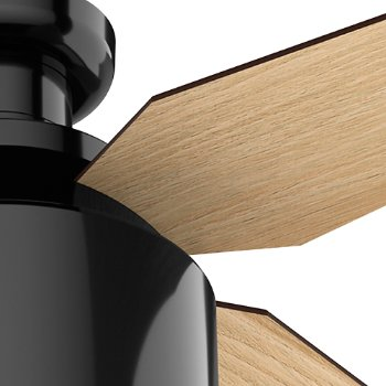 Shown in Gloss Black finish with Blonde Oak blades, Detail view