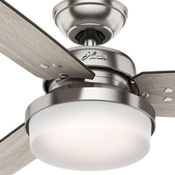 Shown in Brushed Nickel with Grey Oak blades finish, 52 inch, Detail view