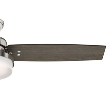 Shown in Brushed Nickel with Grey Walnut blades finish, 52 inch, Detail view