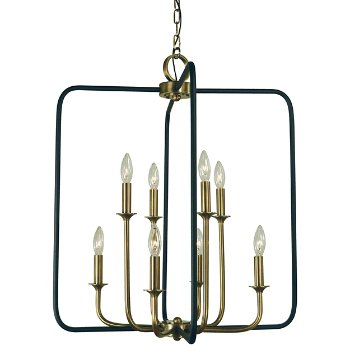Shown in 8 Light, Antique Brass with Matte Black