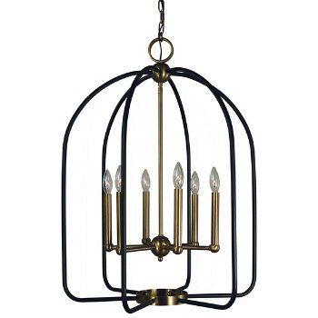 Shown in 6 Lights, Antique Brass with Matte Black finish