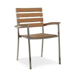Al Fresco Teak and Metal Outdoor Dining Armchair Set of 2
