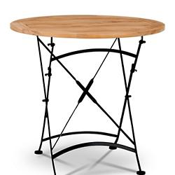 Bistro Round Outdoor Dining Table with Iron Legs