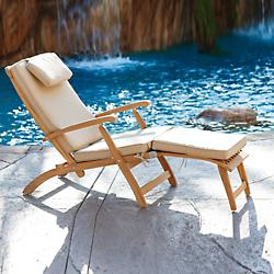 Steamer Outdoor Folding Lounge Chair with Cushion