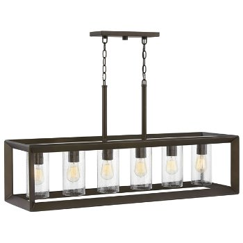 Shown in Warm Bronze with Clear Seeded Glass shades finish