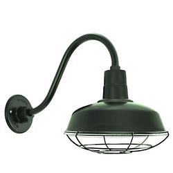 Gooseneck Barn Light Warehouse Outdoor Wall Sconce - B-1 Arm with Wire Guard