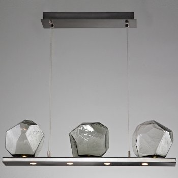Shown in Gunmetal finish, Clear color, 3 light