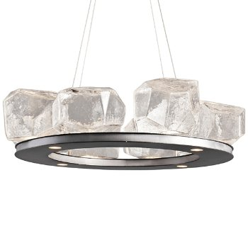 Shown in Clear, Metallic Beige Silver finish, 8 Light