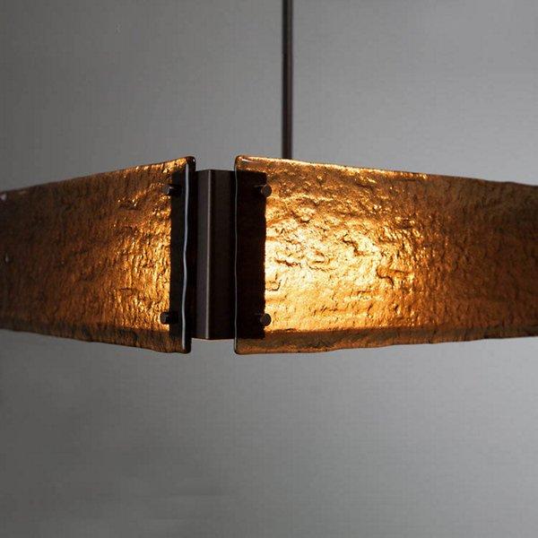 Textured Glass Square Drum Pendant