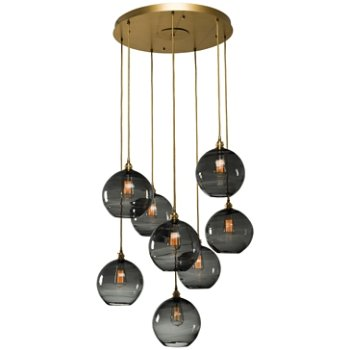 Shown in Gilded Brass finish, Optic Smoke glass, 8 Light