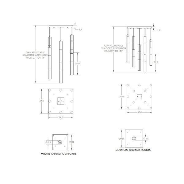 Axis LED Square Multi-Light Pendant