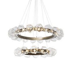 Gem Radial Ring Two-Tier LED Chandelier