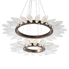 Rock Crystal Radial Ring Two-Tier LED Chandelier