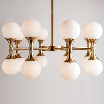 Shown in Aged Brass finish, 16 Light
