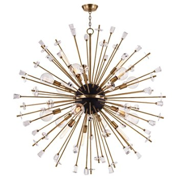 Shown in Aged Brass finish, 18 Light