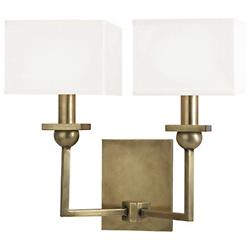 Morris 2-Light Wall Sconce (White/Aged Brass) - OPEN BOX