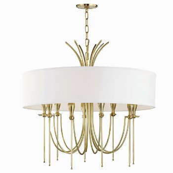 Shown in Aged Brass finish, 9 Light