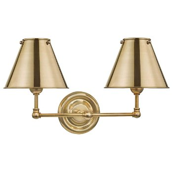 Shown in Aged Brass, Metal Shade