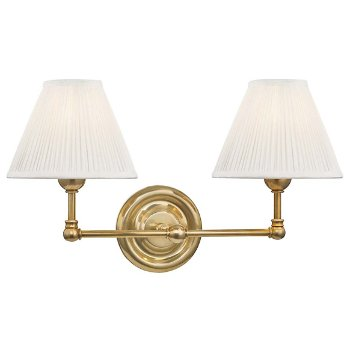 Shown in Aged Brass, Fabric Shade
