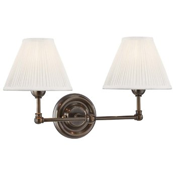 Shown in Distressed Bronze, Fabric Shade