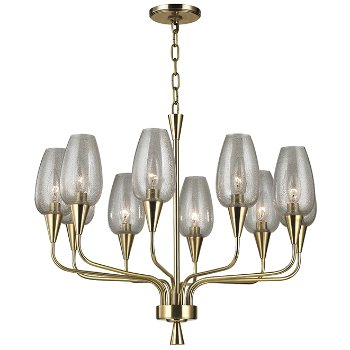 Shown in Aged Brass finish,  10 Lights