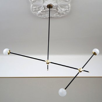 Shown unlit in Powder Coated Black Finish with Brushed Brass accents (decorative ceiling medallion not included)
