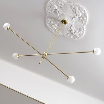Shown unlit in Brushed Brass finish (decorative ceiling medallion not included)