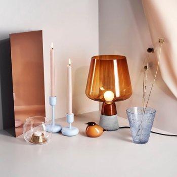 Nappula Candleholder with New Kastehelmi Tumbler, Set of 2 and Birds by Toikka, Kuulas - Orange