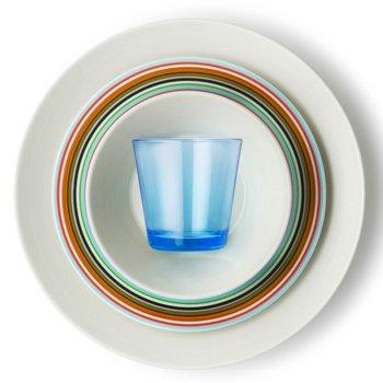 Teema Dinner Plate with iittala Kartio Medium Tumblers and iittala Origo Orange Dinner Plate