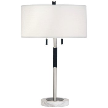 Shown in Polished Nickel w/Navy Blue Leather