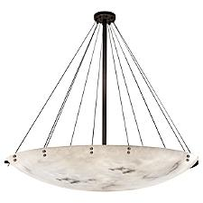 LumenAria Finials 72-Inch Round Bowl Pendant Light