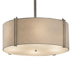 Textile Reveal Drum Pendant (White/Nickel/24/LED) - OPEN BOX