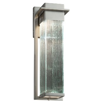 Shown in Brushed Nickel finish with Rain Shade, Large size