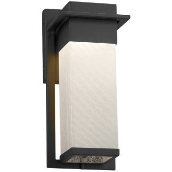 Shown in Matte Black finish with Weave Shade, Small size