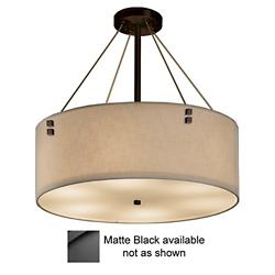 Textile Finials Drum Pendant (Crm/Blk/36/P Sq/LED) -OPEN BOX