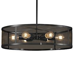 Wire Mesh Drum Pendant (Matte Black/24-Inch) - OPEN BOX