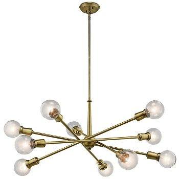 Shown in Natural Brass finish, 10 Light
