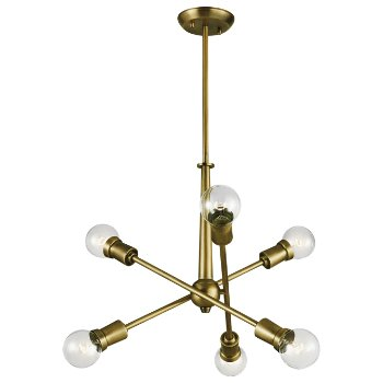Shown in Natural Brass finish, 6 Light