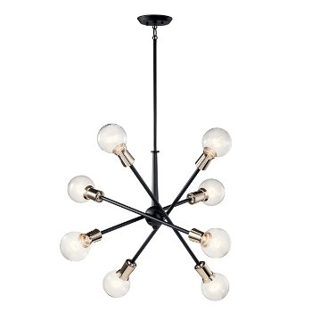 Shown in Black finish, 8 Light