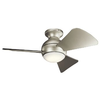 Shown in Brushed Nickel with Silver blades, 34 inch, Light cap, unlit