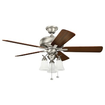 Shown in Brushed Nickel with Walnut, 52 inch (Light kit sold separately)