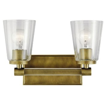 Shown in Natural Brass finish, 2 Light