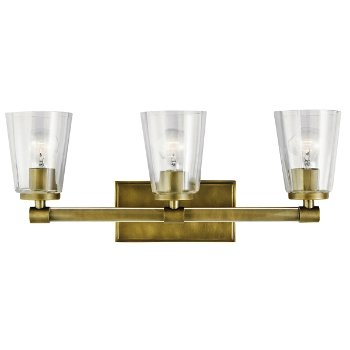 Shown in Natural Brass finish, 3 Light