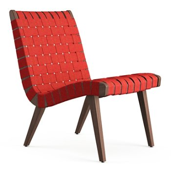Shown in Red Cotton Webbing fabric with Light Walnut frame finish