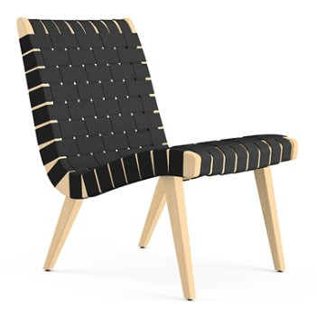 Shown in Black Cotton Webbing fabric with Maple frame finish